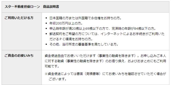 例:東京スター銀行「スター不動産担保ローン」