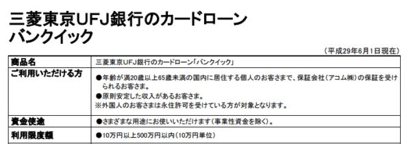 例:三菱東京UFJ銀行/カードローン「バンクイック」
