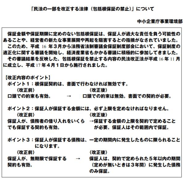 2005年:民法の一部を改正する法律(包括根保証の禁止 )